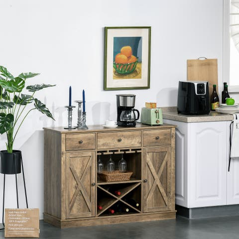 HOMCOM Farmhouse Sideboard Buffet Table Storage Cabinet with 3 Drawers, X-Shaped Wine Rack, Stemware Holder, & Cabinets