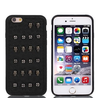 Faux Leather Shockproof Guard Shell Case Cover Black for Apple iPhone 6 4.7
