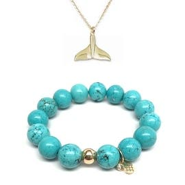 """Turquoise Magnesite 7"""" Bracelet & Whale Tail Gold Charm Necklace Set