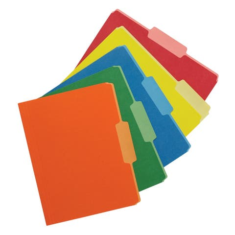 School Smart Two Tone Reversible Colored Folder, Assorted Colors, Pack of 100