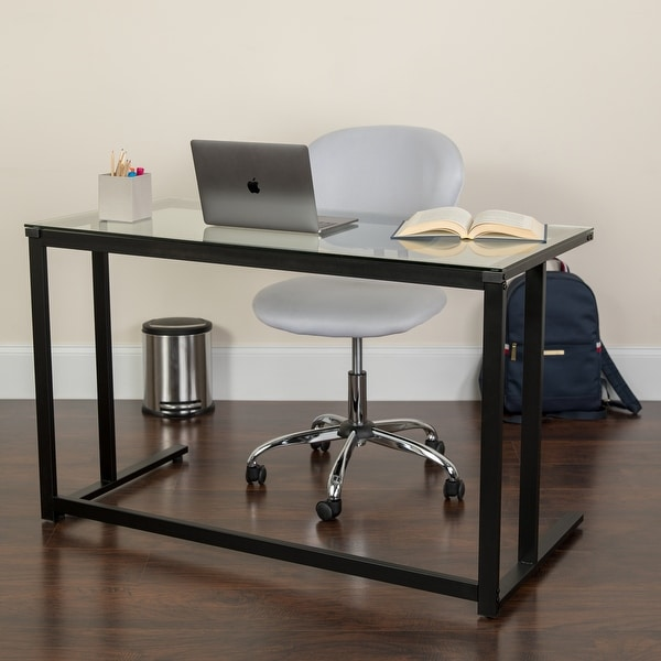 Glass Top Desk with Pedestal Metal Frame - Home Office Furniture. Opens flyout.
