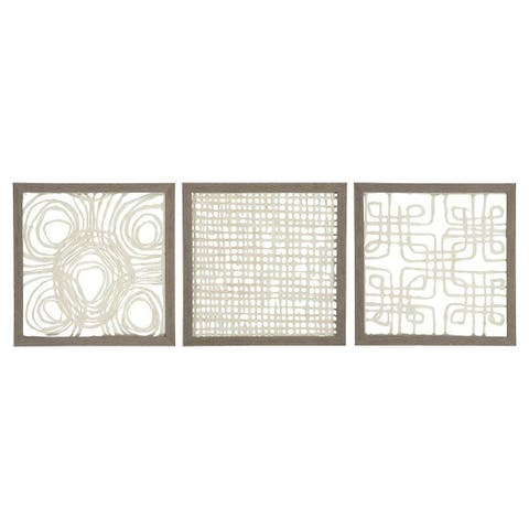 Ashley Furniture A8010009 Odella Wall Decor Abstract Geometric Design in Paper - Set Of 3 - Cream