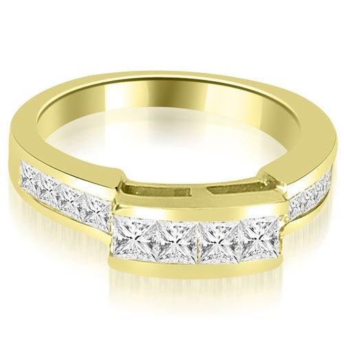 0.95 cttw. 14K Yellow Gold Channel Diamond Princess and Round Cut Wedding Band