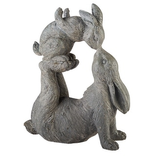 Kissing Rabbits Garden Sculpture - Parent Child Bunny Yard Decor - 12 in. x 4.5 in. x 14 in.