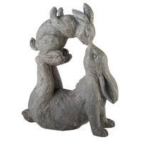 Kissing Rabbits Garden Sculpture - Parent Child Bunny Yard Decor - 12 in. x 4.5 in. x 14 in.