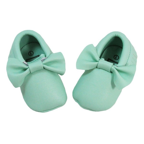 Baby Girls Mint Bow Faux Leather Moccasin Soft Sole Crib Shoes 6-12M
