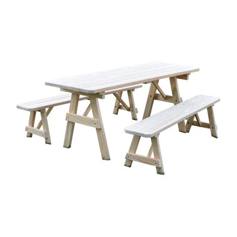 Pressure Treated Pine 6' Traditional Picnic Table with 2 Benches