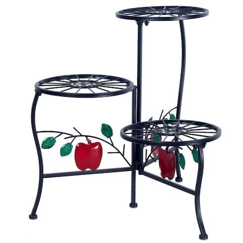 3-Flower Pot Metal Plant Stand Apple Leaves Decorative