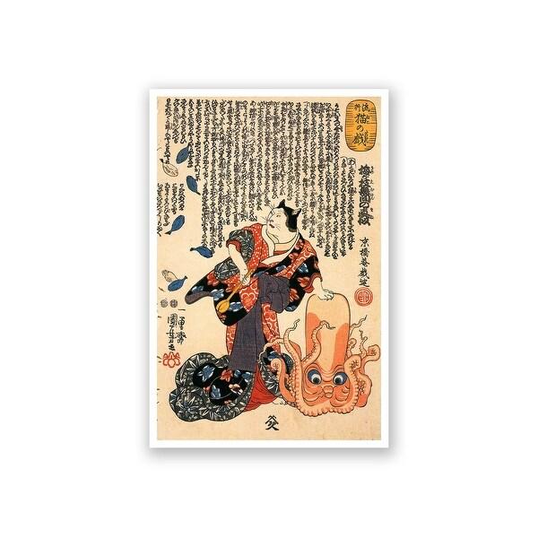 A Cat Dressed as a Woman - Utagawa Kuniyoshi Fine Art Collections Matte Poster 16x24