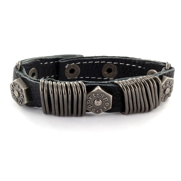 Black Leather Bracelet with Multi Stapler Rings with Hexa Bolts (16 mm) - 7.5 in