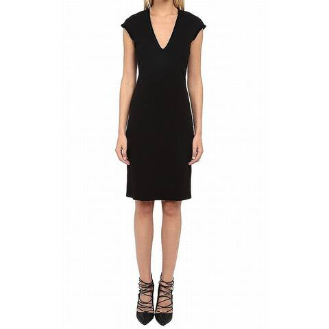 DSquared2 Womens Black Size XS Braided Velvet Trim Sheath Dress