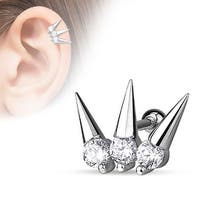 {Clear} 3 CZ Set Spikes 316L Surgical Steel Cartilage/Tragus Barbell (Sold Ind.)