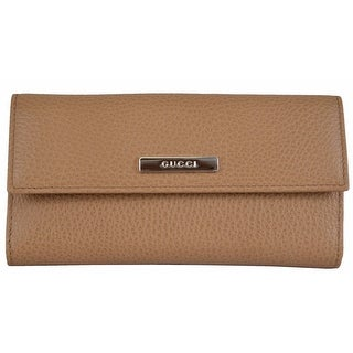 """Gucci 143389 Women's Whisky Beige Leather Metal Plaque Continental Wallet - 7"""" x 3.5"""""""