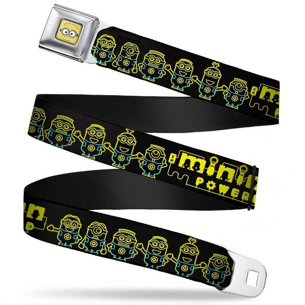 Minion Dave Face Close Up Full Color Minion Powered Electric Minions Black Seatbelt Belt