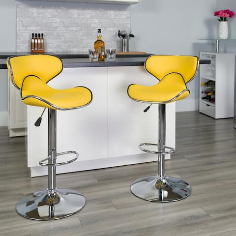 """Contemporary Cozy Mid-Back Vinyl Adjustable Height Barstool with Chrome Base - 16""""W x 17.5""""D x 34.5"""" - 43""""H"""