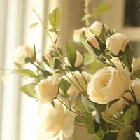 """G Home Collection Rustic Silk Rose Bloom and Bud Stem in White 39"""" Tall"""