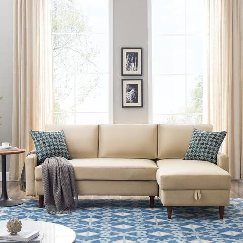 """84"""" Pull Out Sleeper Sectional Sofa With Storage"""