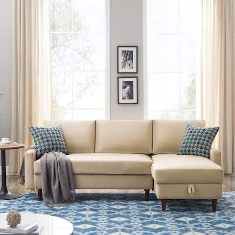 """Nestfair 84"""" Pull out Sleeper Sectional Sofa with storage"""
