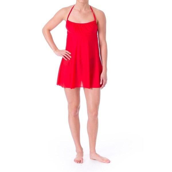 Eco Swim Womens Stretch Halter Dress Swim Cover-Up