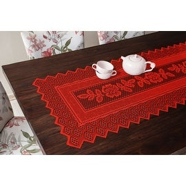 Table Runner Grega Design Brazilian Lace 19x62 Inches Red Color 100 Percent Polyester