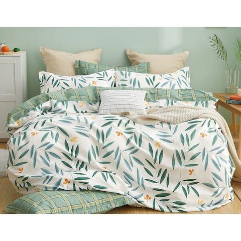 Juliette Green Bamboo Leaves 100% Cotton Reversible Duvet Cover Set
