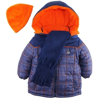 iXtreme Toddler Boys Plaid Expedition Puffer Winter Coat Fleece Scarf Hat