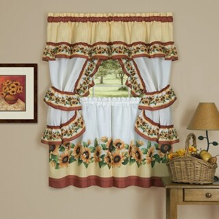 Black-Eyed Susan 3-Piece Kitchen Curtain Valance & Tiers Cottage Set, Spice, 57x36 - N/A