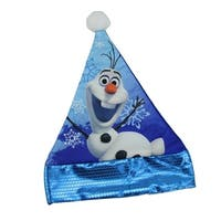 """15"""" White and Blue Olaf the Snowman Disney Frozen Santa Hat with Blue Trim"""