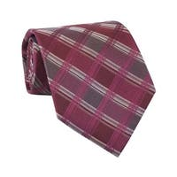 Calvin Klein CK Mens Plaid Classic Silk Neck Tie Burgundy