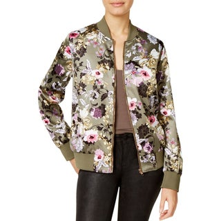 Say What? Womens Juniors Jacket Satin Floral Print - M