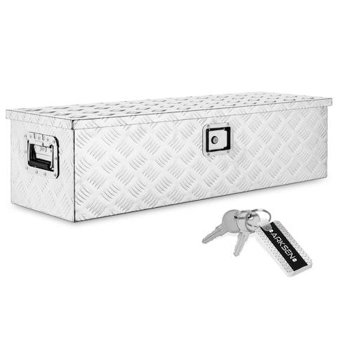 "ARKSEN 39"" Aluminum Bar Tread Pick Up Tool Box Chest Box, Silver"