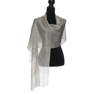 Womens Wedding Evening Wrap Shawl Glitter Metallic Prom Party Scarf with Fringe (4 options available)