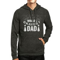 World's Okayest Dad Dark Grey Funny Design Hoodie For Fathers Day