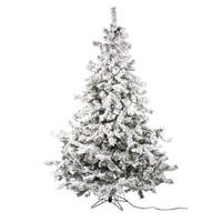 Set of 2 Pre-Lit Flocked Layered Utica Fir Artificial Christmas Tree - Multi Lights 7.5' - WHITE