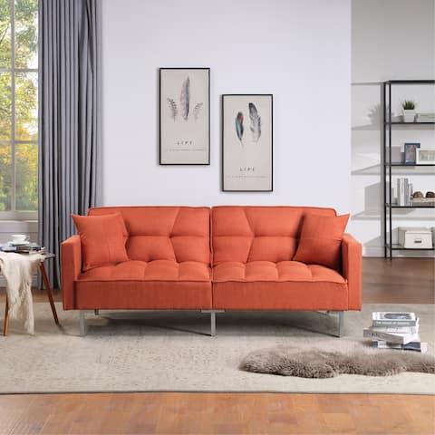Nestfair Linen Upholstered Modern Convertible Folding Futon Sofa Bed Loveseat