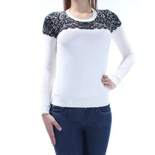MAISON JULES $70 Womens New 1447 Ivory Printed Long Sleeve Sweater 2XS B+B