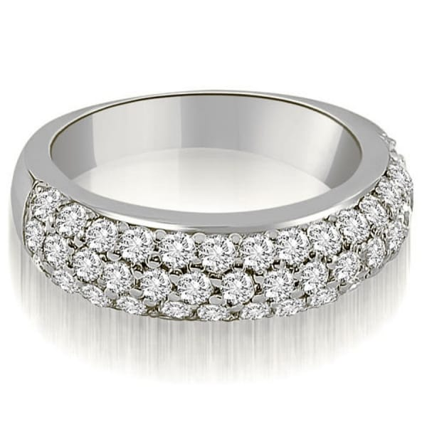 1.30 CT.TW Three Row Prong-Set Round Cut Diamond Wedding Ring in 14KT - White H-I