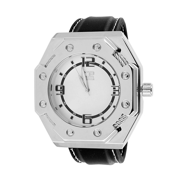 Mens Designer Ice Time Watch Wired Bezel Octagon Design Leather Band Stainless Steel Back
