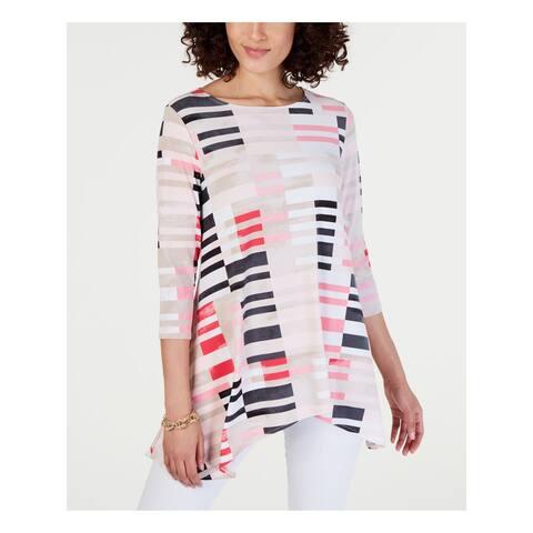 ALFANI Womens Pink Printed 3/4 Sleeve Jewel Neck Trapeze Top Size XS