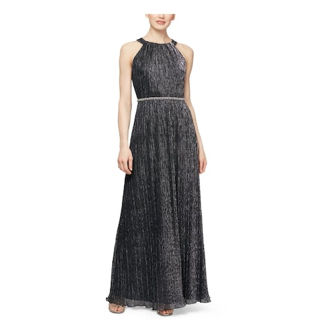SLNY Womens Silver Sleeveless Maxi Sheath Evening Dress Size 6