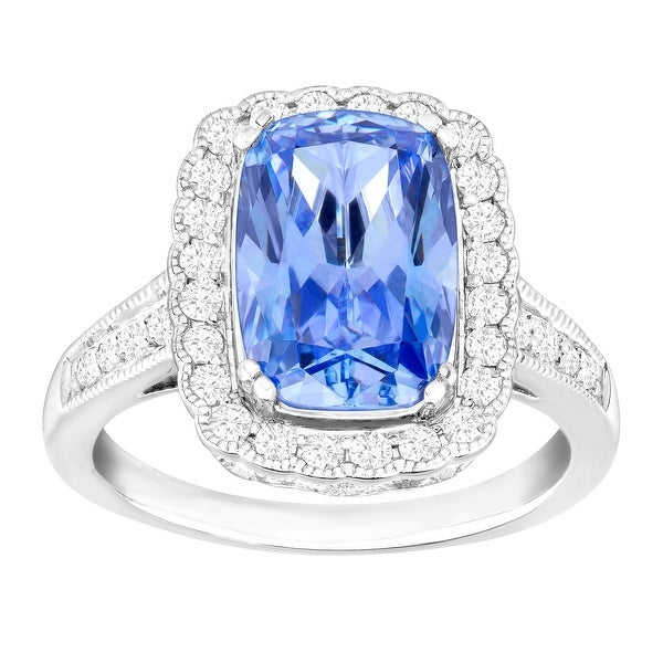 Ring with Fancy Blue & White Swarovski Elements Zirconia in Sterling Silver
