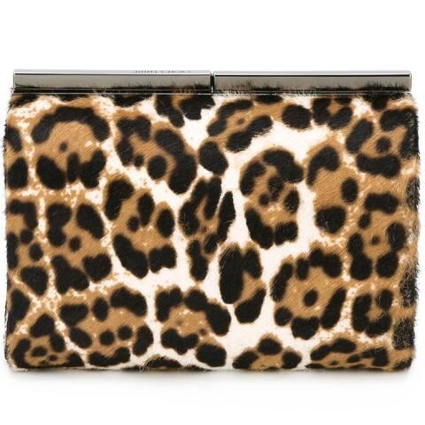 Jimmy Choo Cate Leopard Print Pony Hair Natural Luxury Clutch Handbag LOP 164