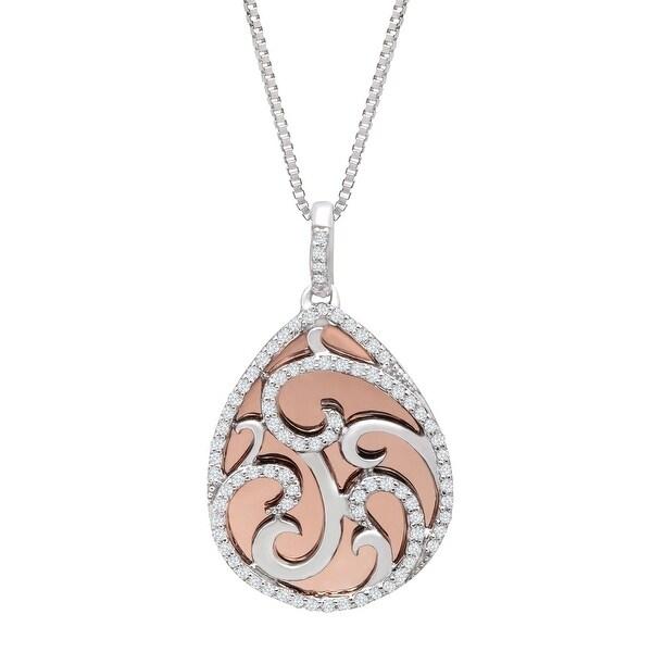 1/4 ct Diamond Teardrop Pendant in Sterling Silver & 10K Rose Gold