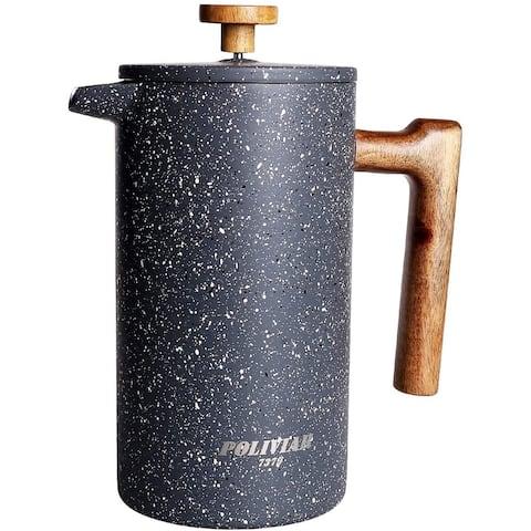 POLIVIAR French Press Coffee Maker, 34 oz Coffee Press with Teak Wood Handle