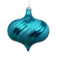 4ct Shiny Turquoise Blue Swirl Shatterproof Onion Christmas Ornaments 5.75""
