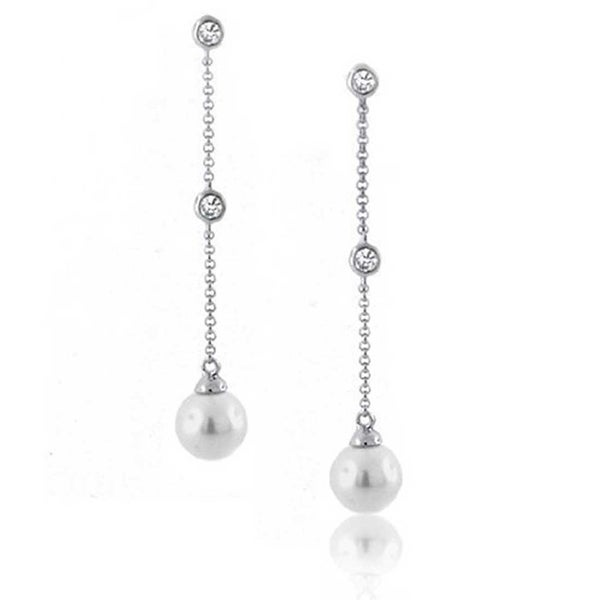 Simulated Diamond Silver Plated Threader 10mm Dangle Long Chain Earrings