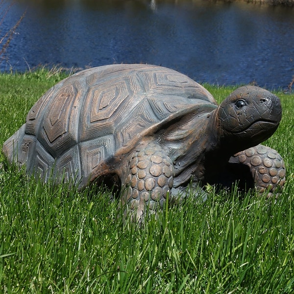 Sunnydaze Tanya the Tortoise Indoor-Outdoor Lawn and Garden Statue - 20-Inch - Tan