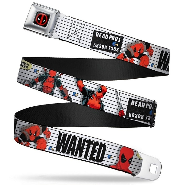 Marvel Universe Deadpool Logo Full Color Black Red White Deadpool Wanted Seatbelt Belt