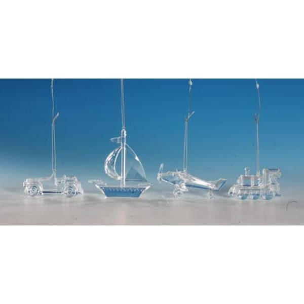 "Club Pack of 16 Icy Crystal Decorative Transportation Ornaments 4.5"" - CLEAR"