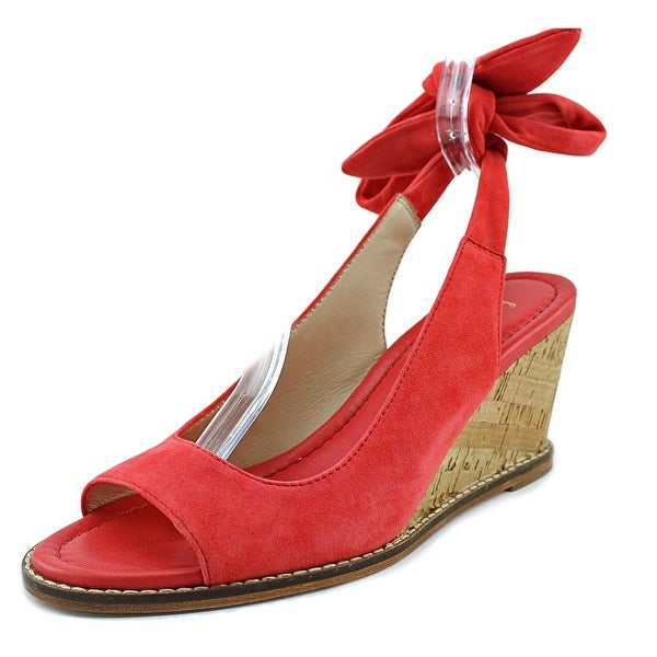 Bettye Muller Playlist Women Open Toe Leather Red Wedge Sandal